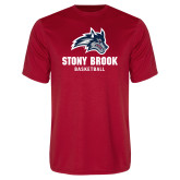 Performance Red Tee-Wolfie Head Stony Book Basketball