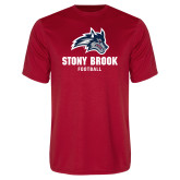 Performance Red Tee-Wolfie Head Stony Book Football