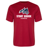 Performance Red Tee-Wolfie Head Stony Book Lacrosse