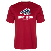 Performance Red Tee-Wolfie Head Stony Book Soccer