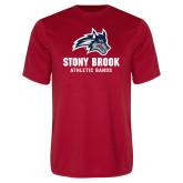 Performance Red Tee-Wolfie Head Stony Book Athletic Bands