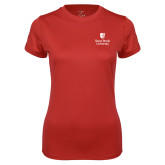 Ladies Syntrel Performance Red Tee-University Mark Vertical