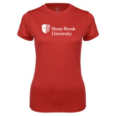 Ladies Syntrel Performance Red Tee-University Mark Stacked