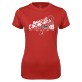 Ladies Syntrel Performance Red Tee-2019 Baseball Champions