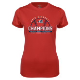 Ladies Syntrel Performance Red Tee-2019 America East Baseball Champions