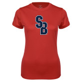 Ladies Syntrel Performance Red Tee-Interlocking SB