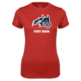 Ladies Syntrel Performance Red Tee-Wolfie Head and Stony Brook