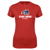 Ladies Syntrel Performance Red Tee-Wolfie Head Stony Book Baseball