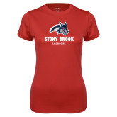 Ladies Syntrel Performance Red Tee-Wolfie Head Stony Book Lacrosse