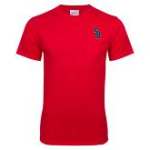 Red T Shirt w/Pocket-Interlocking SB