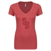 Next Level Ladies Vintage Red Tri Blend V Neck Tee-Interlocking SB Red Glitter