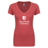 Next Level Ladies Vintage Red Tri Blend V Neck Tee-University Mark Vertical