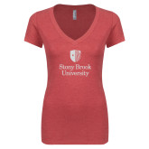 Next Level Ladies Vintage Red Tri Blend V Neck Tee-University Mark Vertical White Soft Glitter