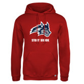 Russell DriPower Red Fleece Hoodie-Wolfie Head and Stony Brook
