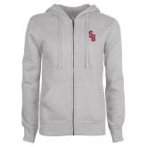 ENZA Ladies Grey Fleece Full Zip Hoodie-Interlocking SB