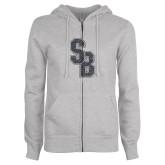 ENZA Ladies Grey Fleece Full Zip Hoodie-Interlocking SB Graphite Soft Glitter