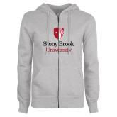 ENZA Ladies Grey Fleece Full Zip Hoodie-University Mark Vertical