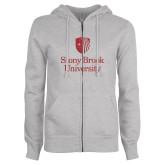 ENZA Ladies Grey Fleece Full Zip Hoodie-University Mark Vertical Red Glitter