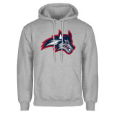 Grey Fleece Hoodie-Wolfie Head