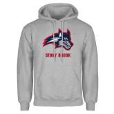 Grey Fleece Hoodie-Wolfie Head and Stony Brook