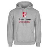 Grey Fleece Hoodie-University Mark Vertical