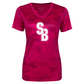 Ladies Pink Raspberry Camohex Performance Tee-Interlocking SB