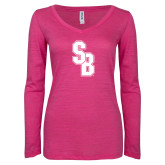 ENZA Ladies Hot Pink Long Sleeve V Neck Tee-Interlocking SB
