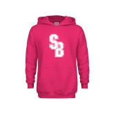 Youth Raspberry Fleece Hoodie-Interlocking SB