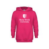Youth Raspberry Fleece Hoodie-University Mark Vertical