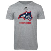 Adidas Sport Grey Logo T Shirt-Wolfie Head and Stony Brook