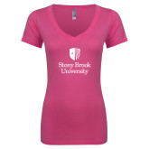 Next Level Ladies Junior Fit Ideal V Pink Tee-University Mark Vertical