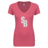 Next Level Ladies Vintage Pink Tri Blend V Neck Tee-Interlocking SB White Soft Glitter