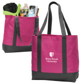 Tropical Pink/Dark Charcoal Day Tote-University Mark Vertical