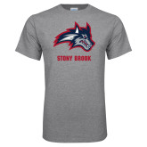 Grey T Shirt-Wolfie Head and Stony Brook