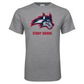Grey T Shirt-Wolfie Head and Stony Brook