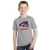Youth Grey T Shirt-Wolfie Head and Stony Brook