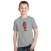 Youth Grey T Shirt-Illustrated Soccer Wolfie