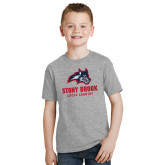 Youth Grey T Shirt-Wolfie Head Stony Book Cross Country