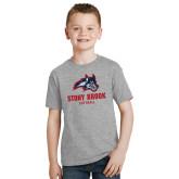 Youth Grey T Shirt-Wolfie Head Stony Book Softball