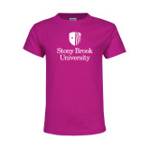 Youth Cyber Pink T Shirt-University Mark Vertical