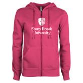 ENZA Ladies Fuchsia Fleece Full Zip Hoodie-University Mark Vertical