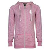 ENZA Ladies Hot Pink Marled Full Zip Hoodie-Interlocking SB