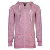 ENZA Ladies Hot Pink Marled Full Zip Hoodie-University Mark Vertical