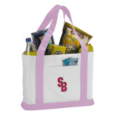Contender White/Pink Canvas Tote-Interlocking SB