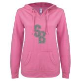 ENZA Ladies Hot Pink V Notch Raw Edge Fleece Hoodie-Interlocking SB Silver Soft Glitter