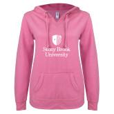 ENZA Ladies Hot Pink V Notch Raw Edge Fleece Hoodie-University Mark Vertical