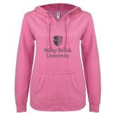 ENZA Ladies Hot Pink V Notch Raw Edge Fleece Hoodie-University Mark Vertical Graphite Soft Glitter