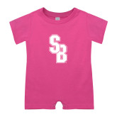 Bubble Gum Pink Infant Romper-Interlocking SB