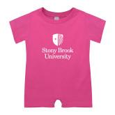 Bubble Gum Pink Infant Romper-University Mark Vertical