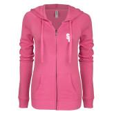 ENZA Ladies Hot Pink Light Weight Fleece Full Zip Hoodie-Interlocking SB
